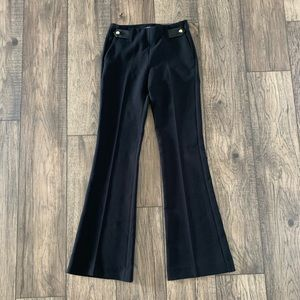 Express midrise flare black pant with gold button